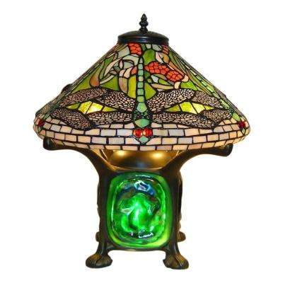 14 in. Height Tiffany Green Dragonfly Luminescent Table Lamp