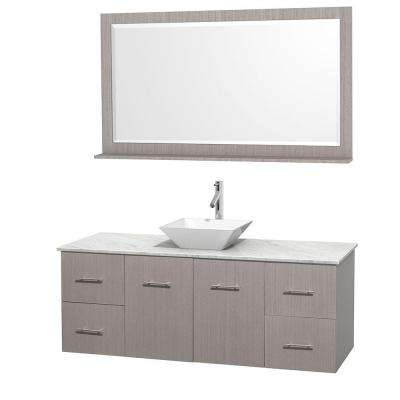 Centra 60 in. Vanity in Gray Oak with Marble Vanity Top in Carrara White, Porcelain Sink and 58 in. Mirror