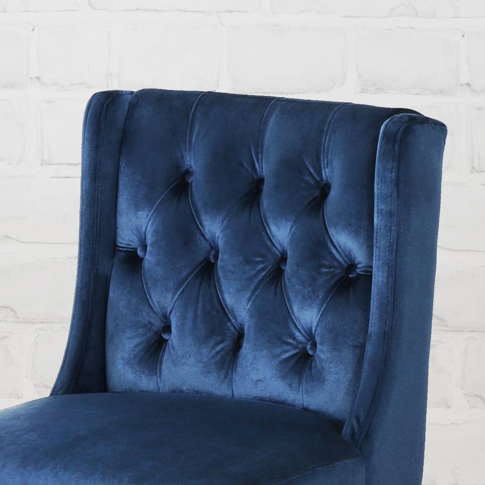 Fine Noble House Leander Modern 26 In Tufted Back Cobalt Velvet Alphanode Cool Chair Designs And Ideas Alphanodeonline