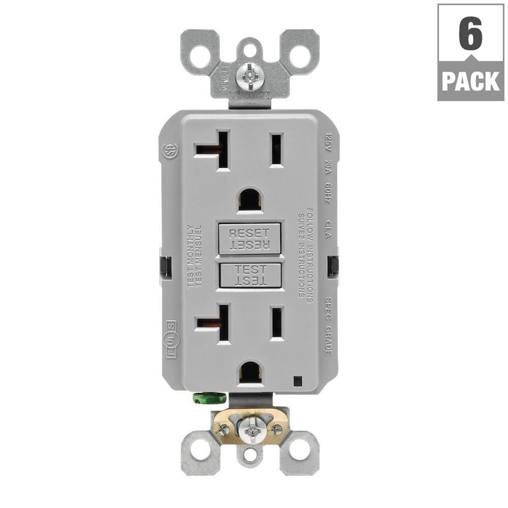 Leviton 20 Amp Self-Test SmartlockPro Slim Duplex GFCI Outlet, Gray ...