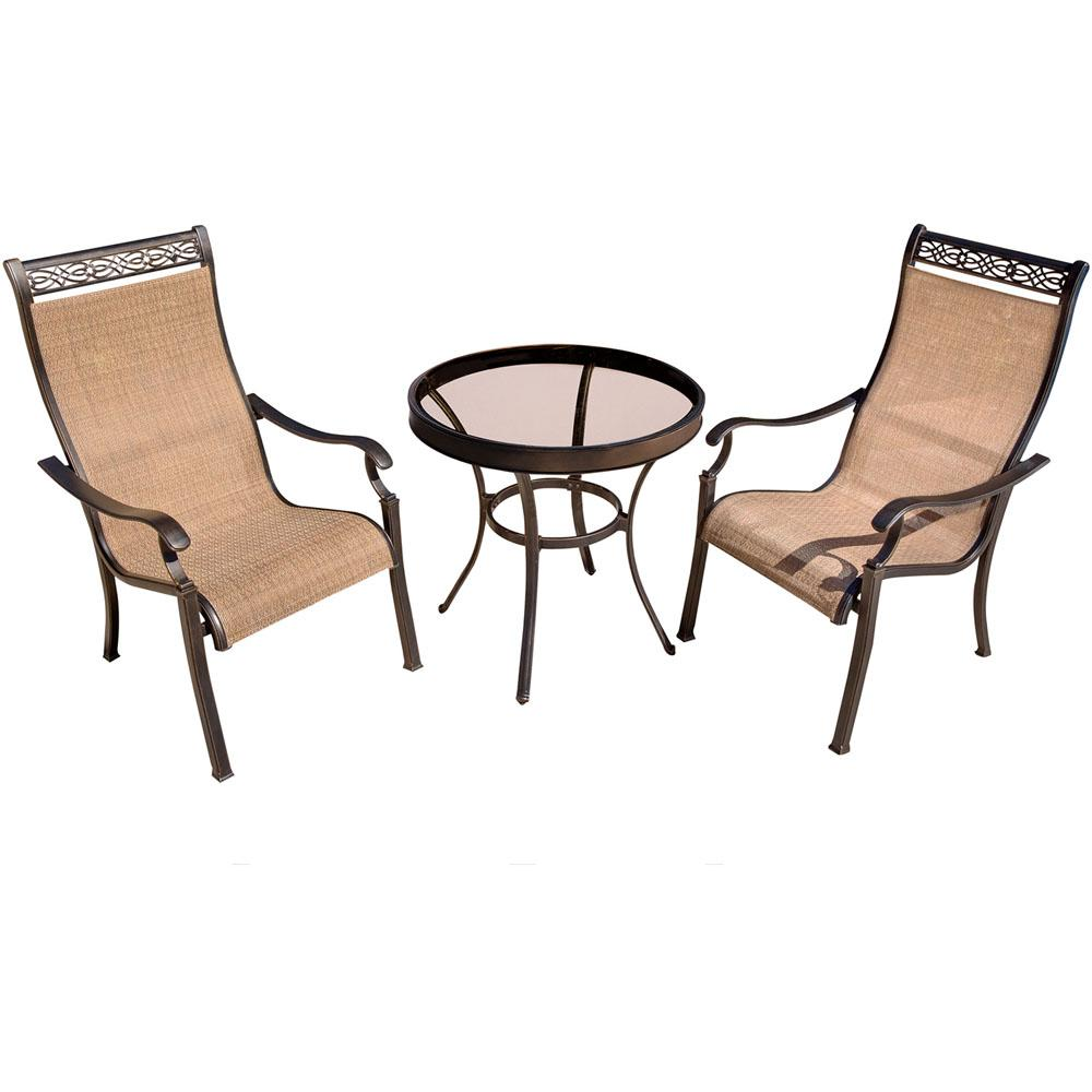 Hanover Monaco 3 Piece Aluminum Outdoor Bistro Set With Round Glass Top  Table With