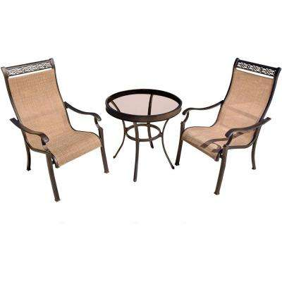 Monaco 3-Piece Aluminum Outdoor Bistro Set with Round Glass-Top Table with Contoured Sling Chairs