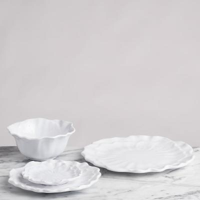 Peony 4-Piece Modern White Melamine Outdoor Dinnerware Set (Service for 4)