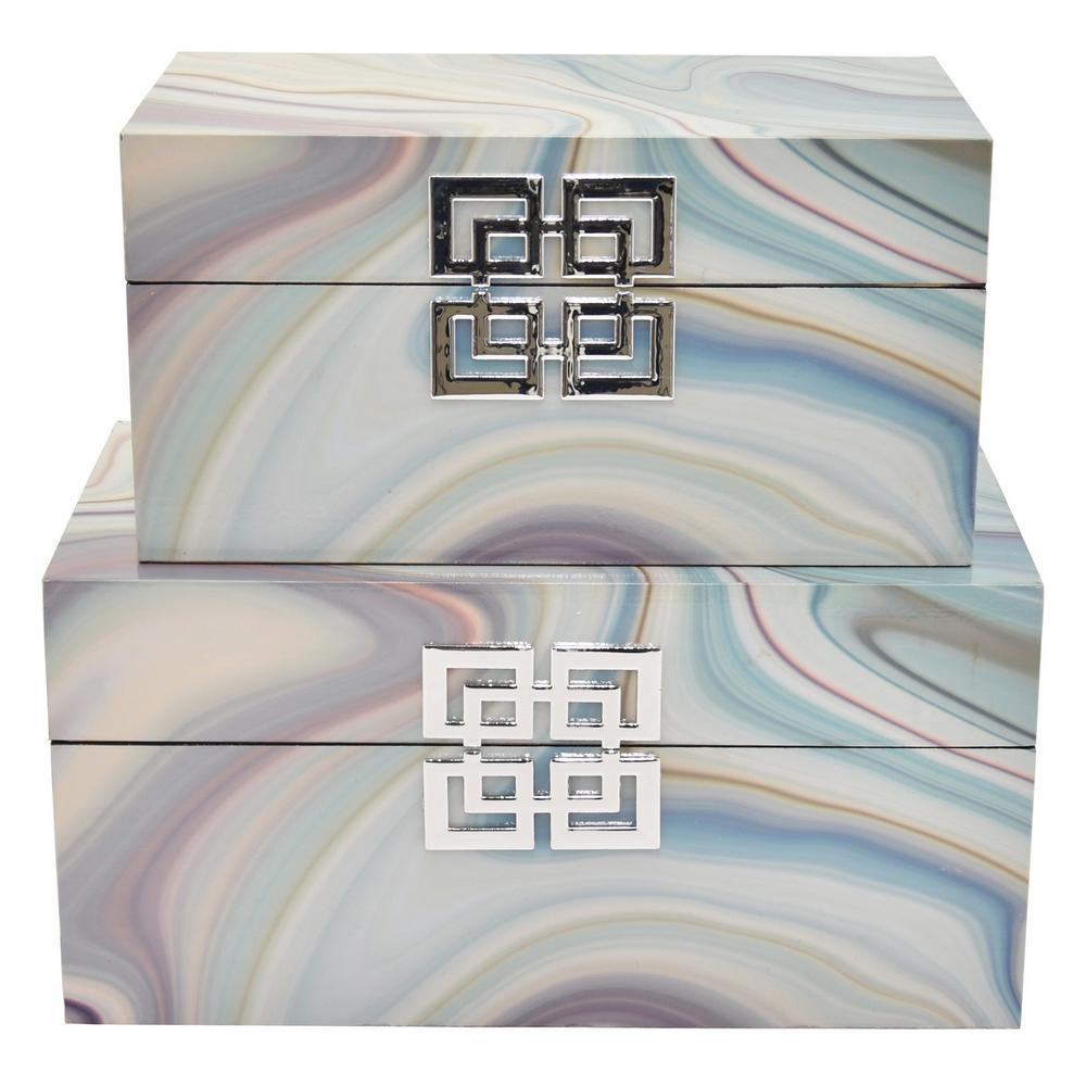 13.5 in. x 7.5 in. x 6.75 in. Resin Decorative Box in Multi-Colored Design (Set of 2)