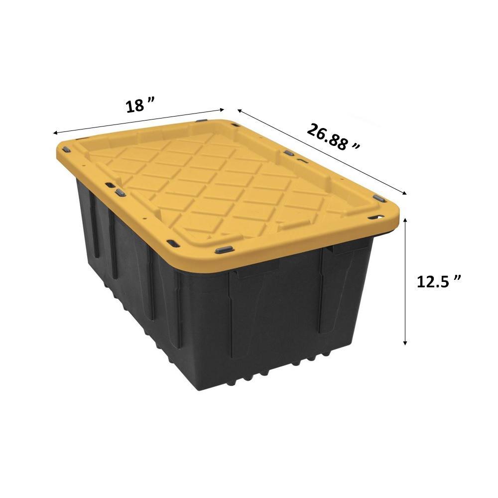 Hdx 17 Gal Tough Storage Tote In Black, Home Depot Storage Baskets