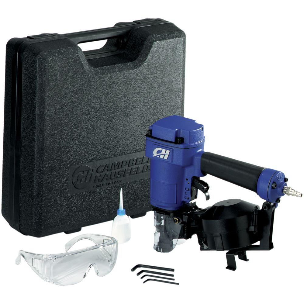 Campbell Hausfeld Pneumatic 15 Degree Coiled Roofing Nailer with Kit and Carrying Case