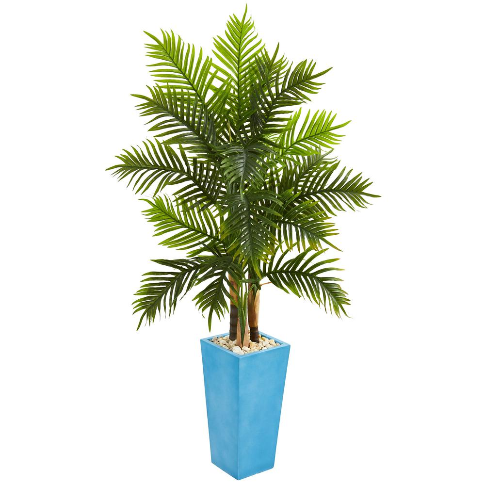 nearly natural indoor 5 5 ft areca palm artificial tree in turquoise planter real touch 5648. Black Bedroom Furniture Sets. Home Design Ideas