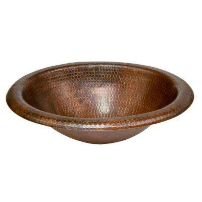 Self-Rimming Wide Rim Oval Hammered Copper Bathroom Sink in Oil Rubbed Bronze
