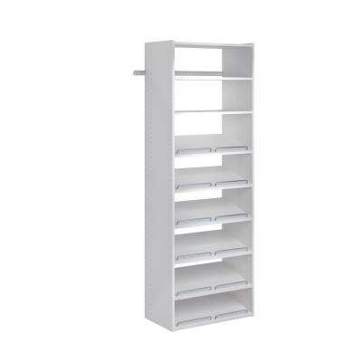 14 in. D x 25.125 in. W x 72 in. H Classic White Wood Essential Shoe Closet System