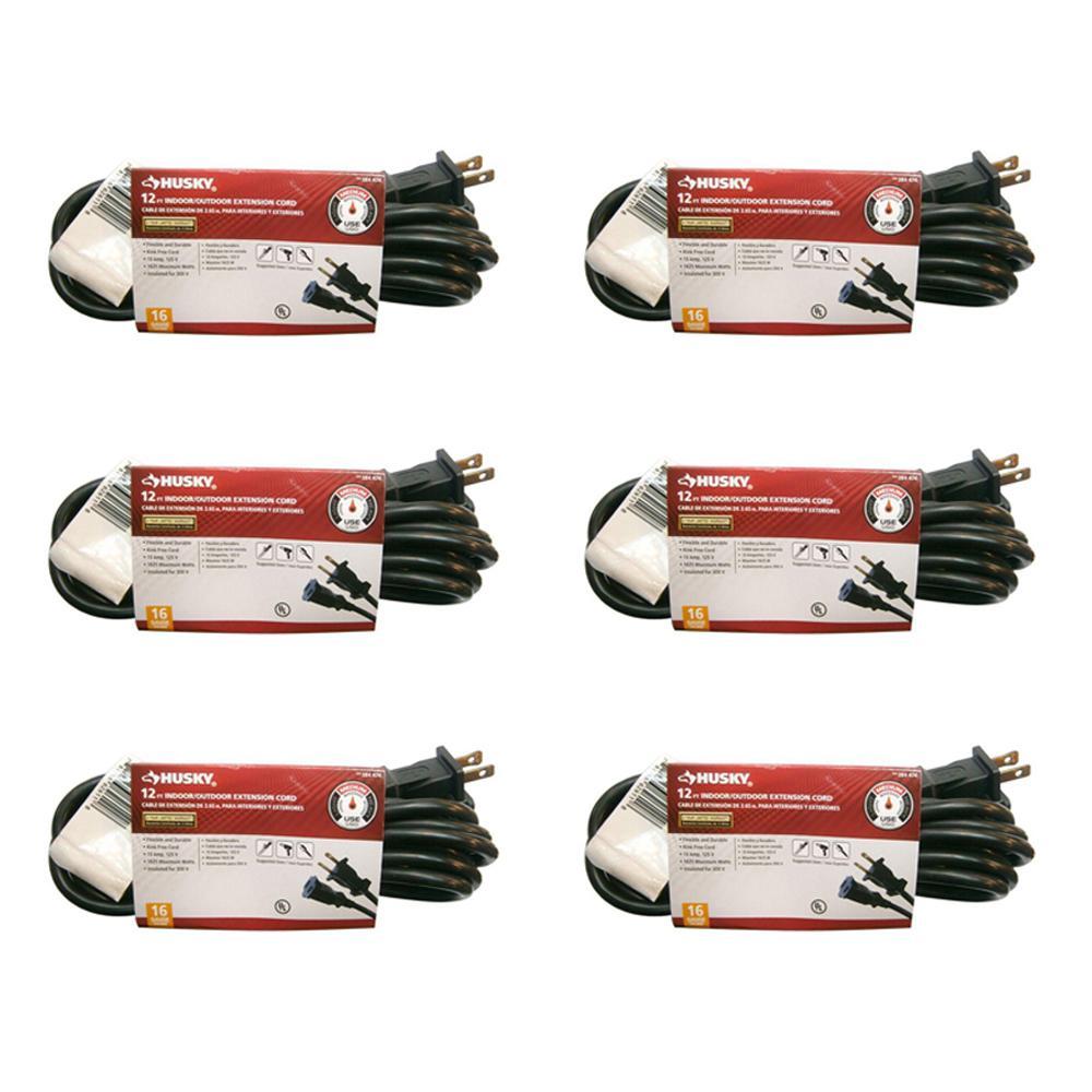 Husky 12 ft. 16/2 Indoor/Outdoor Extension Cord, Black (6-Pack)