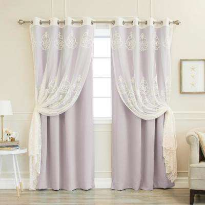 52 in. W x 84 in. L uMIXm Sheer Agatha & Blackout Curtains in Lilac (4-Pack)