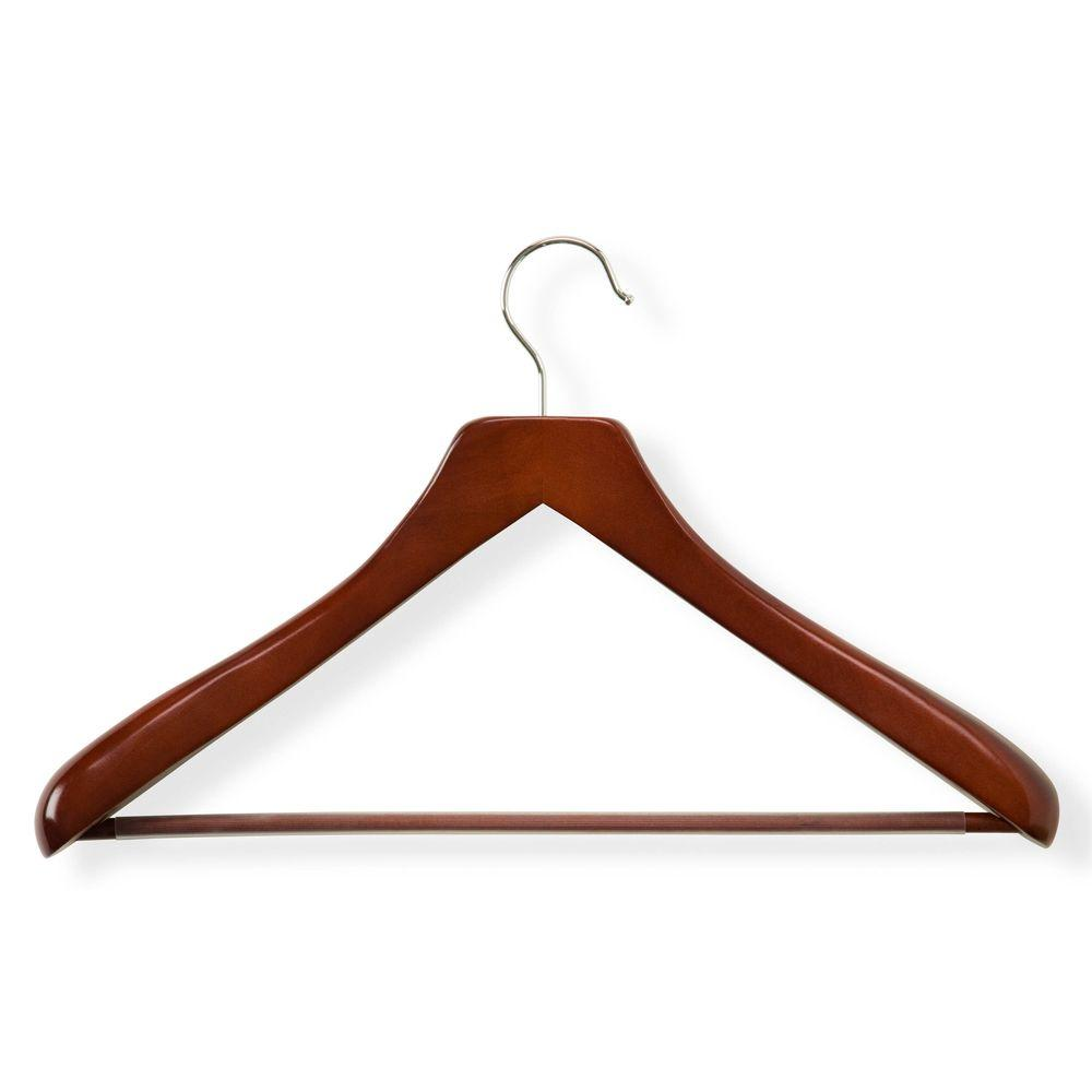 Wooden Suit Hangers Extra Wide Shoulder with Non Slip Bar Walnut Finish 3 Pack