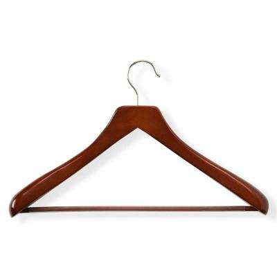 Wooden Cherry Finish Deluxe Contoured Suit Hanger with Non-Slip Bar (1-Pack)