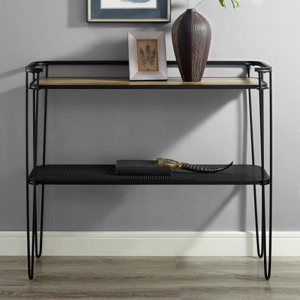 42 in. Industrial Wood Entryway Table with Lower Mesh Shelf