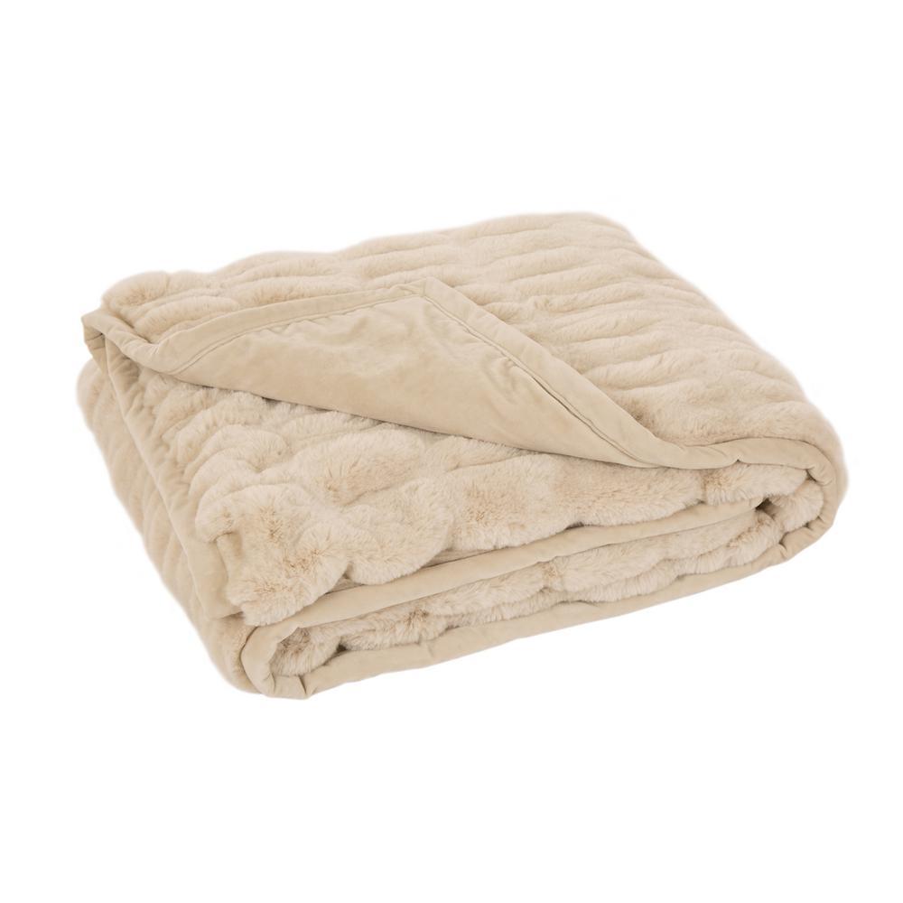 60 in. H Beige Faux Fur Luxury Elastic Throw Blanket