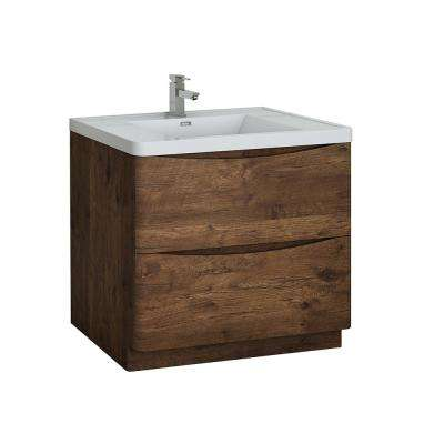 Tuscany 36 in. Modern Bath Vanity in Rosewood with Vanity Top in White with White Basin