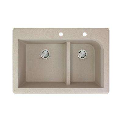 Radius Drop-in Granite 33 in. 2-Hole 1-3/4 J-Shape Double Bowl Kitchen Sink in Cafe Latte
