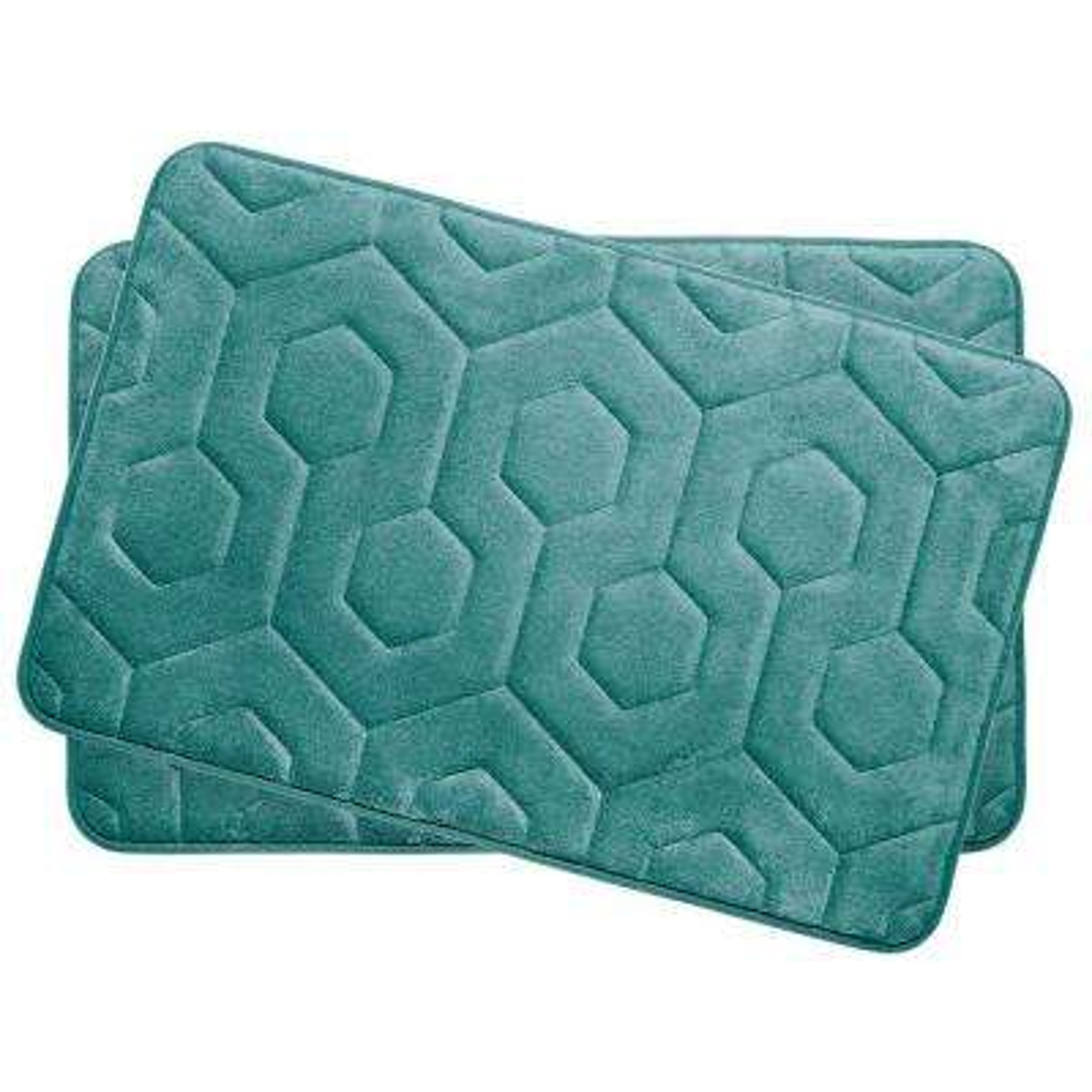 Hexagon Marine Blue 17 in. x 24 in. Memory Foam Bath Mat Set (2-Piece)