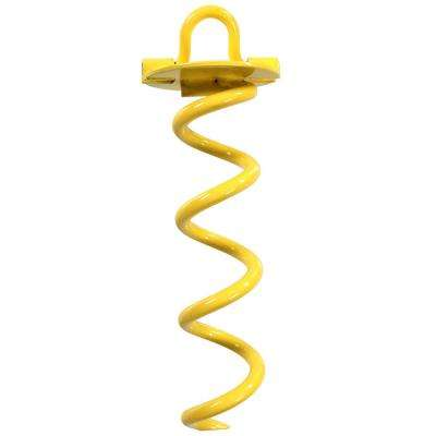 10 in. Outdoor Yellow Spiral Anchor for Tarps, Leashes and Tents
