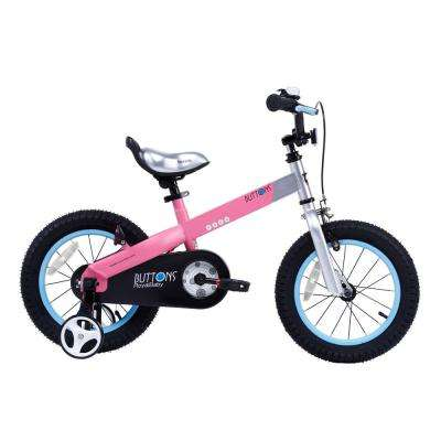 Matte Buttons Kid's Bike, Boy's Bikes and Girl's Bikes with Training Wheels, 12 in. Wheels in Matte Pink