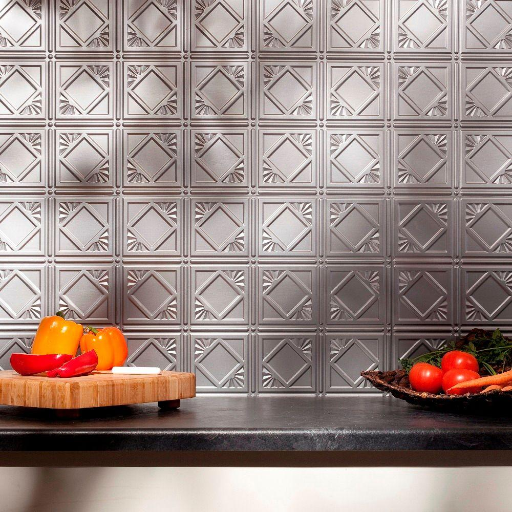 Fasade 24 in. x 18 in. Traditional 4 PVC Decorative Backsplash Panel in Argent Silver