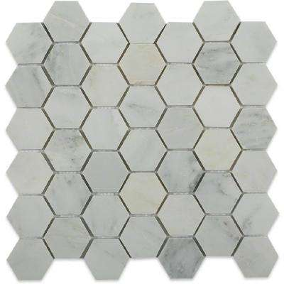 Oriental Hexagon 12 in. x 12 in. x 8 mm Marble Floor and Wall Tile