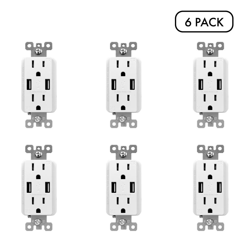 Commercial Electric 3.6 Amp Dual USB Charger and 15 Amp Receptacle, White (6-Pack)