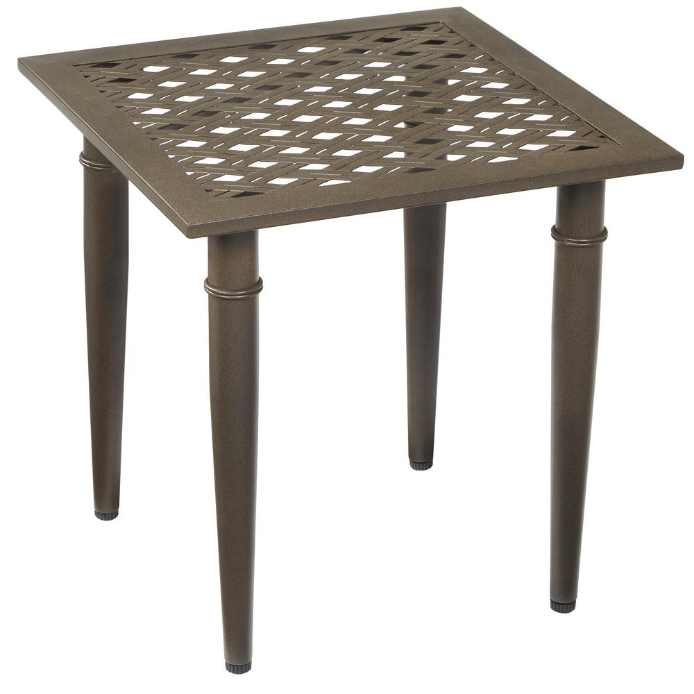 hampton bay oak cliff metal outdoor side table 176 411 20et the rh homedepot com metal mesh patio side table white metal patio side table