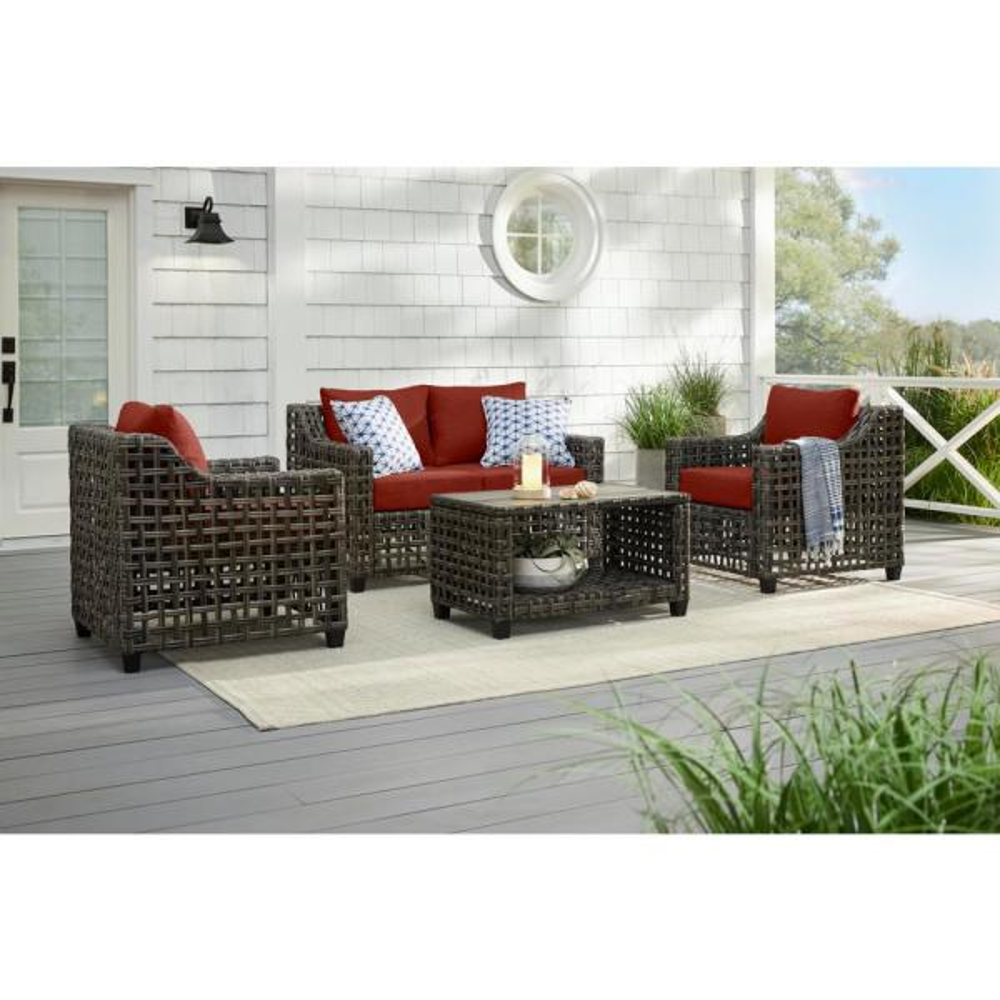 Briar Ridge 4-Piece Brown Wicker Outdoor Patio Conversation Deep Seating Set with Sunbrella Henna Red Cushions
