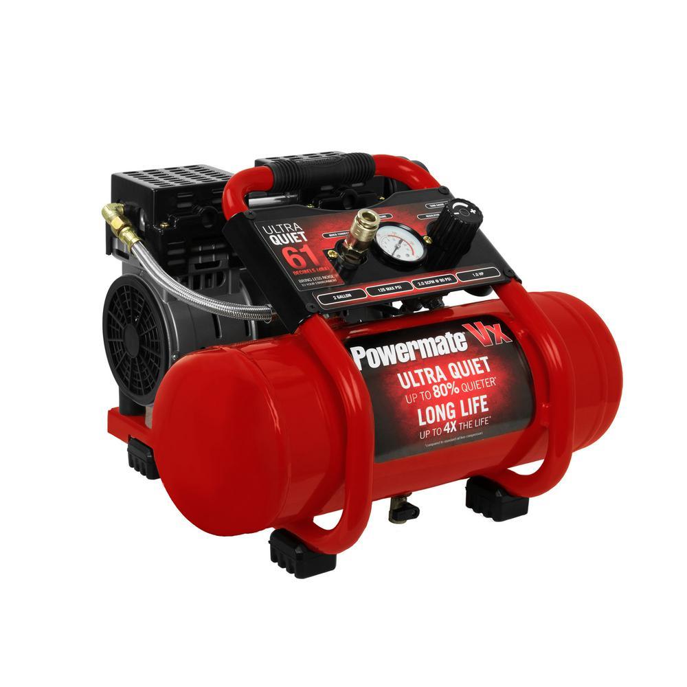 powermate air pressors air pressors tools accessories  2 gal 125 psi 1 hp ultra quiet oil free electric air pressor