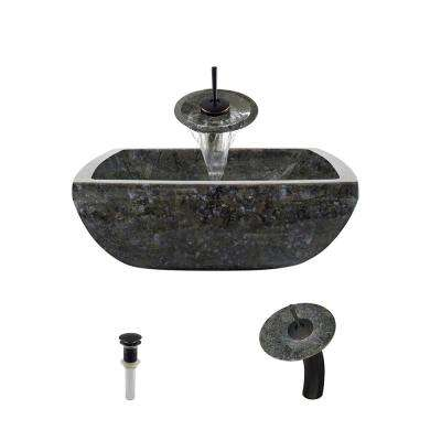 Stone Vessel Sink in Butterfly Blue Granite with Waterfall Faucet and Pop-Up Drain in Antique Bronze
