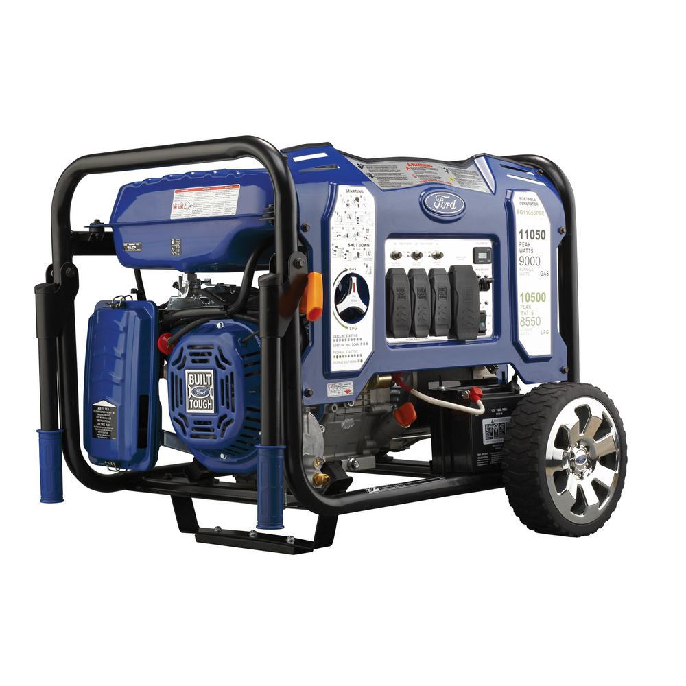 Ford 11,050/9,000-Watt Dual Fuel Gasoline/Propane Powered Electric/Recoil Start Portable Generator 457 cc CARB Compliant