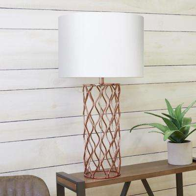 Elsie Metal Frame 31.5 in. Brushed Nickel Table Lamp with Shade