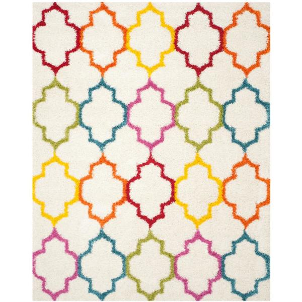 Kids Shag Ivory/Multi 8 ft. x 10 ft. Area Rug