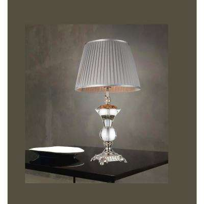 Yale 27 in. Silver Table Lamp with Grey Shade