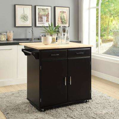 Townville Black Kitchen Cart with Drop Leaf