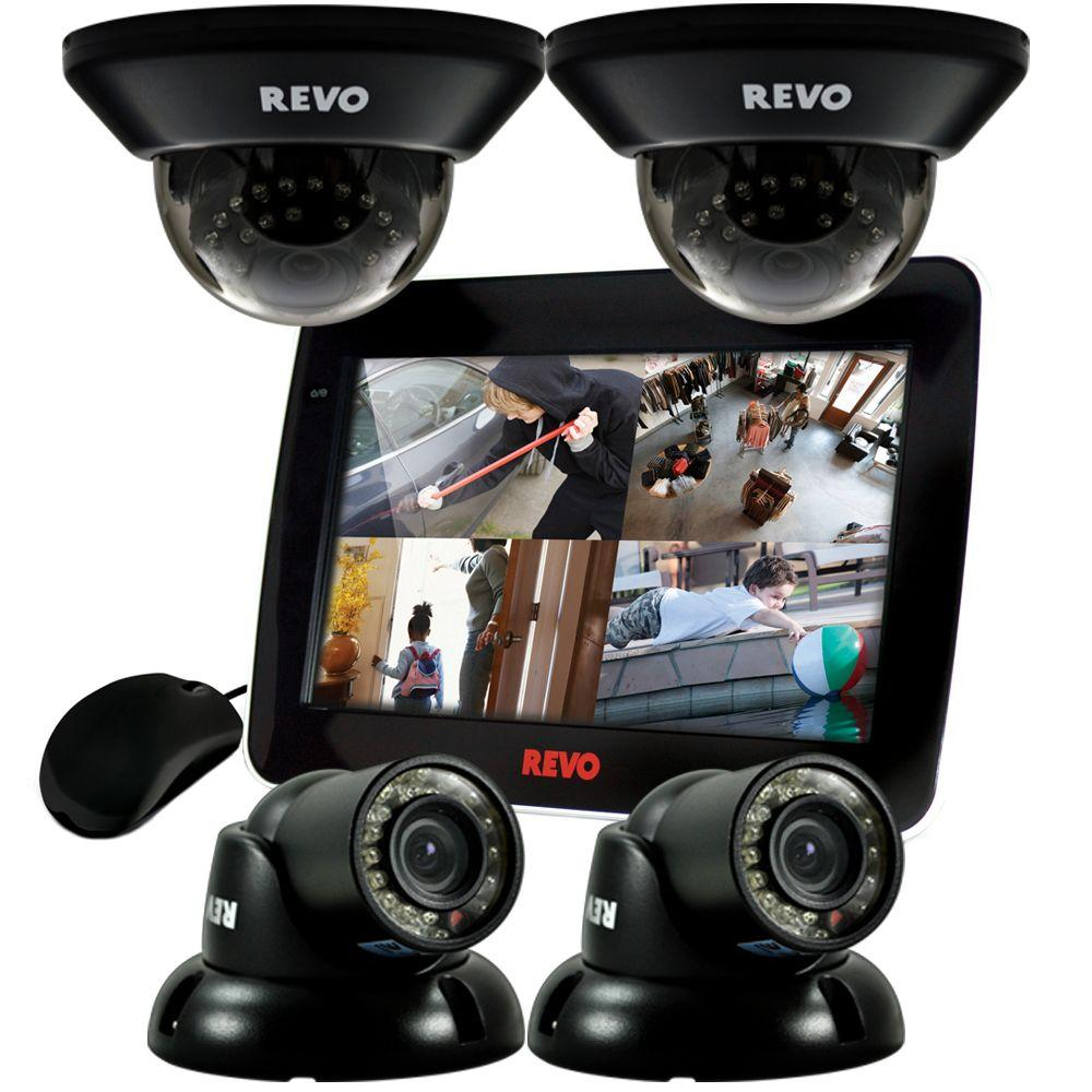 Revo 4 CH 1TB DVR Surveillance System with 10.5 in. Built-in Monitor and (4) 700TVL 100 ft. Night Vision Cameras
