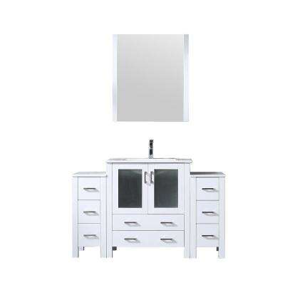 Volez 54 in. Single Vanity White w/ 2 Side Cabinets Integrated Top White Integrated Square Sink and 28 in. Mirror