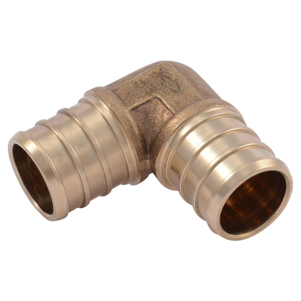Sharkbite 3 4 in brass pex 90 degree barb elbow 10 pack for Pex versus copper