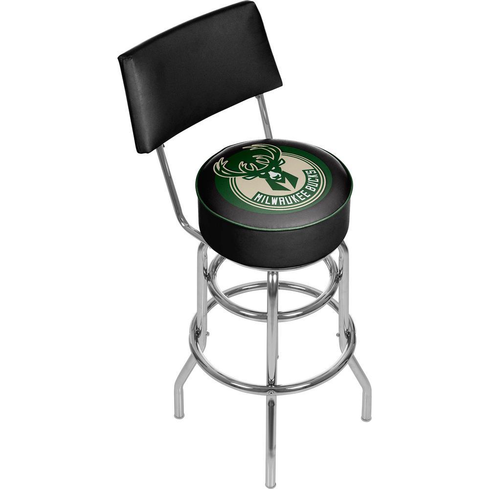 Astonishing Milwaukee Bucks Nba 30 In Chrome Padded Swivel Bar Stool Caraccident5 Cool Chair Designs And Ideas Caraccident5Info