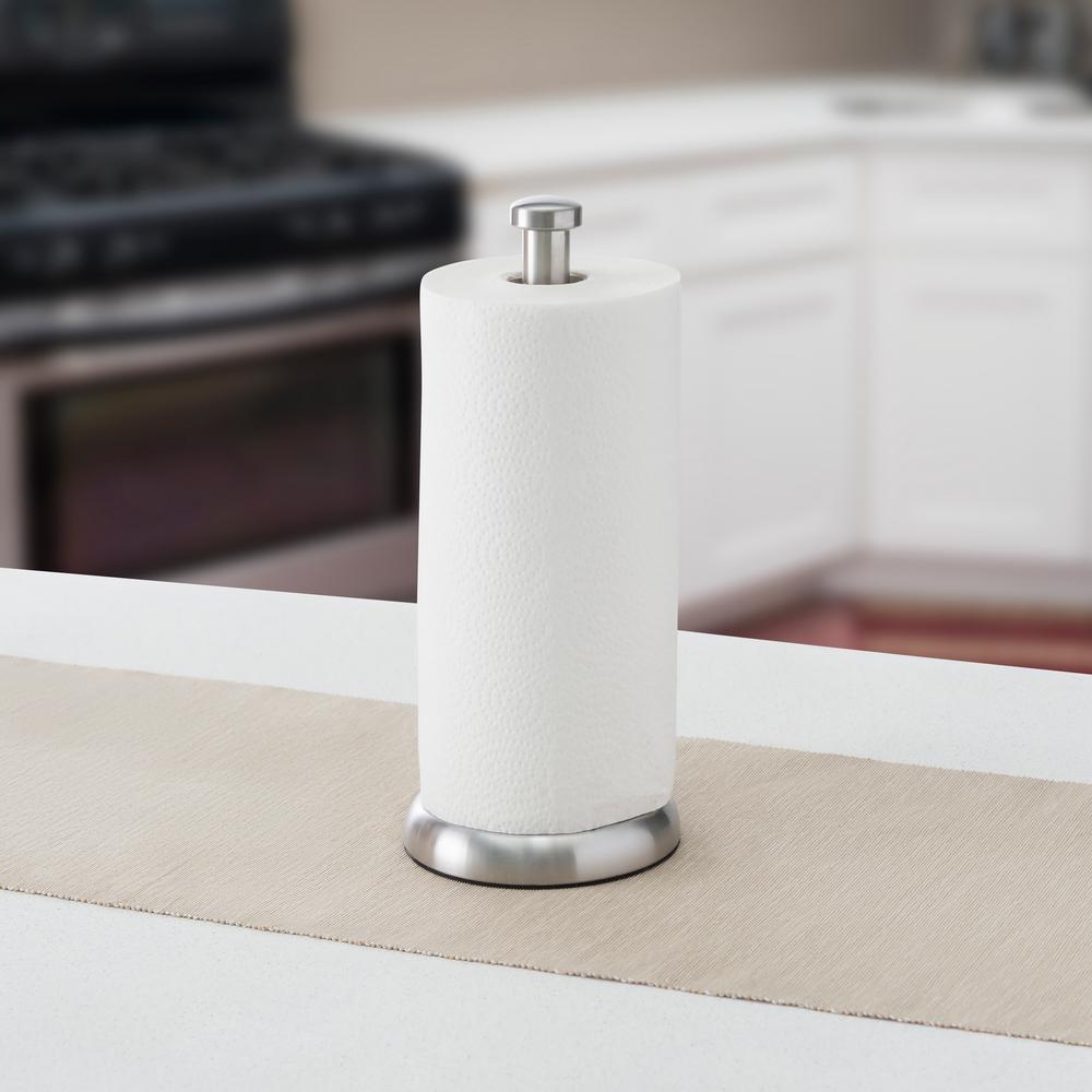 Simplicity Heavy Duty Satin Nickel Free Standing Paper Towel Holder