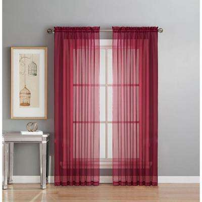 Sheer Burgundy Solid Voile Extra-Wide Sheer Rod Pocket Curtain Panel 54 in. W x 63 in. L