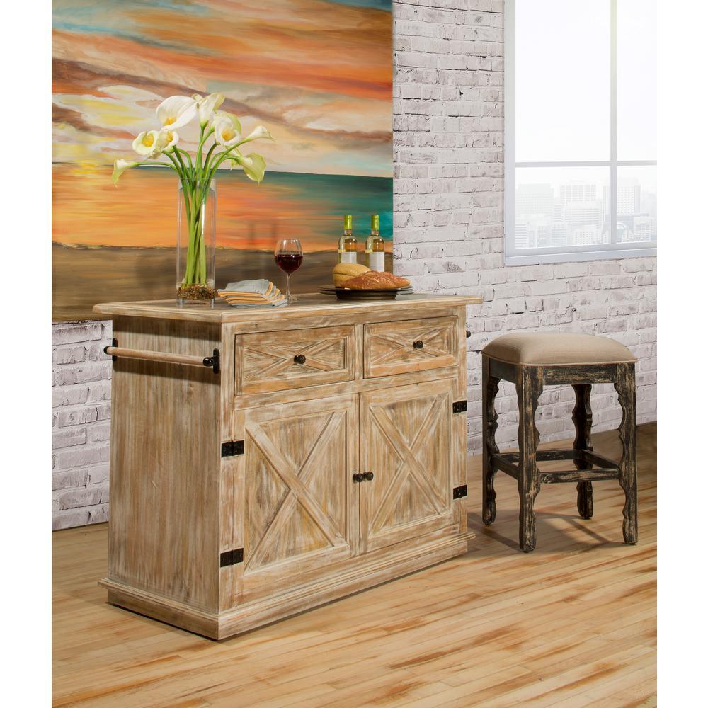 9 Standout Kitchen Islands: Hillsdale Furniture Carter Weathered Sandy Beige Kitchen