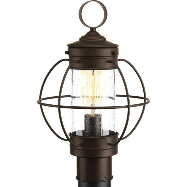 Haddon Collection 1-Light Outdoor Antique Bronze Post Lamp