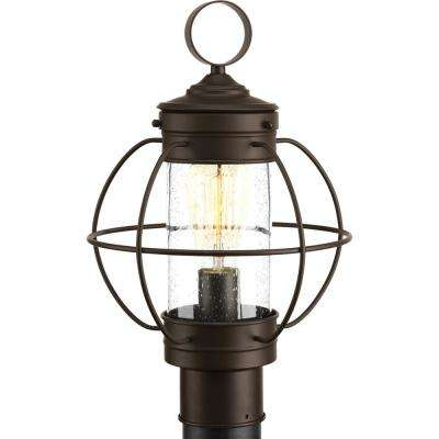 Brown post lighting outdoor lighting the home depot haddon collection 1 light outdoor antique bronze post lantern mozeypictures Images