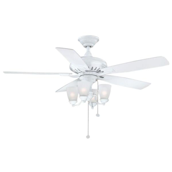 Hunter Reinert 52 In Indoor Low Profile White Ceiling Fan With Light Kit 53011 The Home Depot