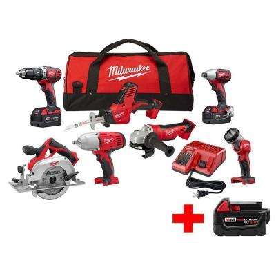 M18 18-Volt Lithium-Ion Cordless Combo Kit (7-Tool) W/ (1) 5.0Ah, (2) 3.0Ah Batteries, 1 Charger, 1 Tool Bag