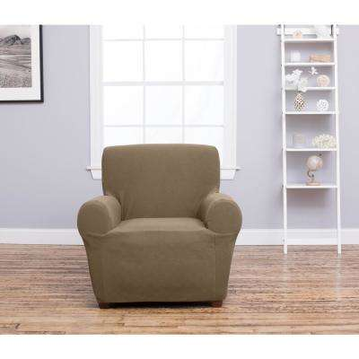 Cambria Collection Toffee Stretch Fit Form Fitting Heavyweight Chair Stretch Slipcover
