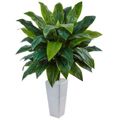 Indoor Cordyline Artificial Plant in White Tower Planter