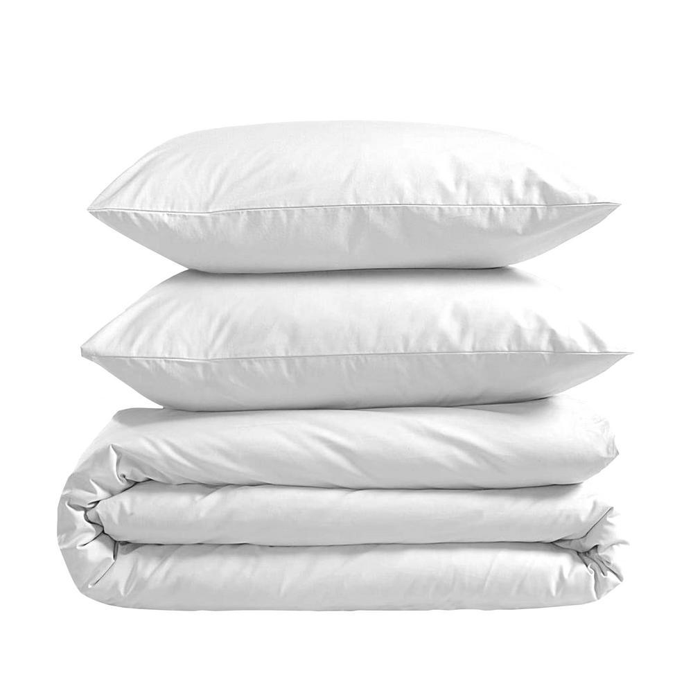 A1HC 100% New Zealand Wool 3-Piece White 100% Organic Cotton Wool Pillows and King Comforter Set